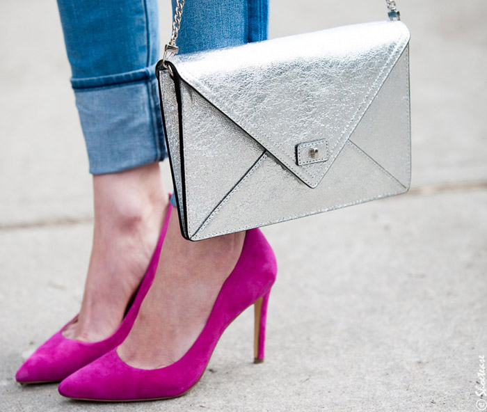 Pink Suede High Heels and SIlver Clutch - ShoeTease