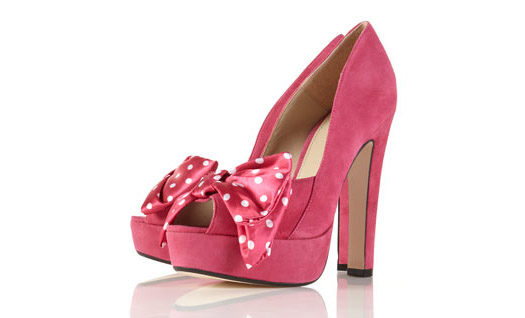 I Want! Topshop Pink Suede Pumps with Polka-Dots Bow
