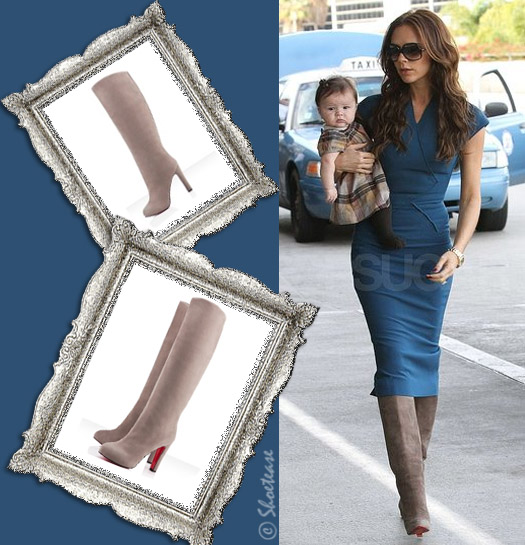 Victoria Beckham paired a fabulous blue frock from her own line with  grey/beige \u201cVicky Botta\u201d Christian Louboutin suede boots ...