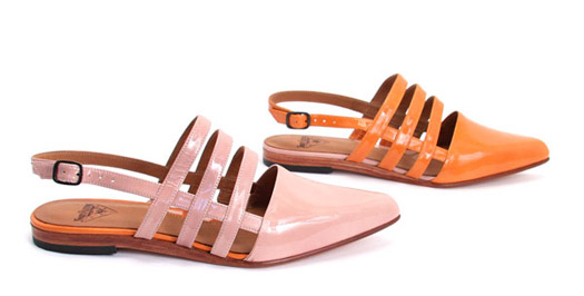 PRESENCE pink flats fluevog patent strap shoes
