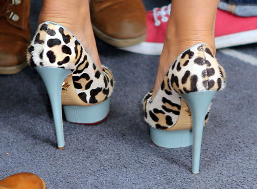 Cheryl Cole wears Charlotte Olympia's Dolly shoes in leopard/blue in Paris
