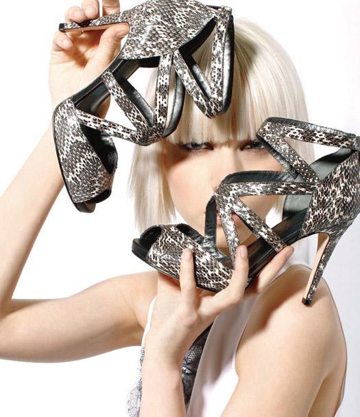 DKNY snake skin strappy sandals black white trend fall 2012 shoes
