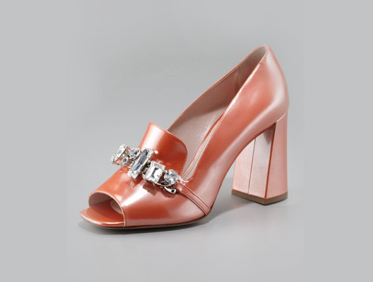 Neiman Marcus Miu Miu patent jeweled loafer pump freak shoe 60s fall 2012
