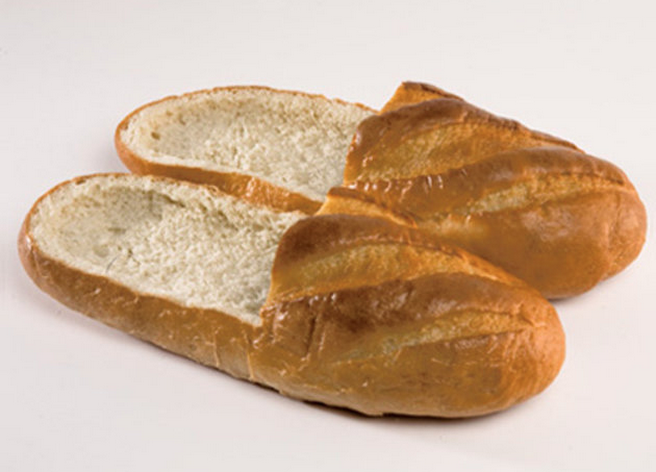 weird shoe of the week bread loaf loafer food shoes