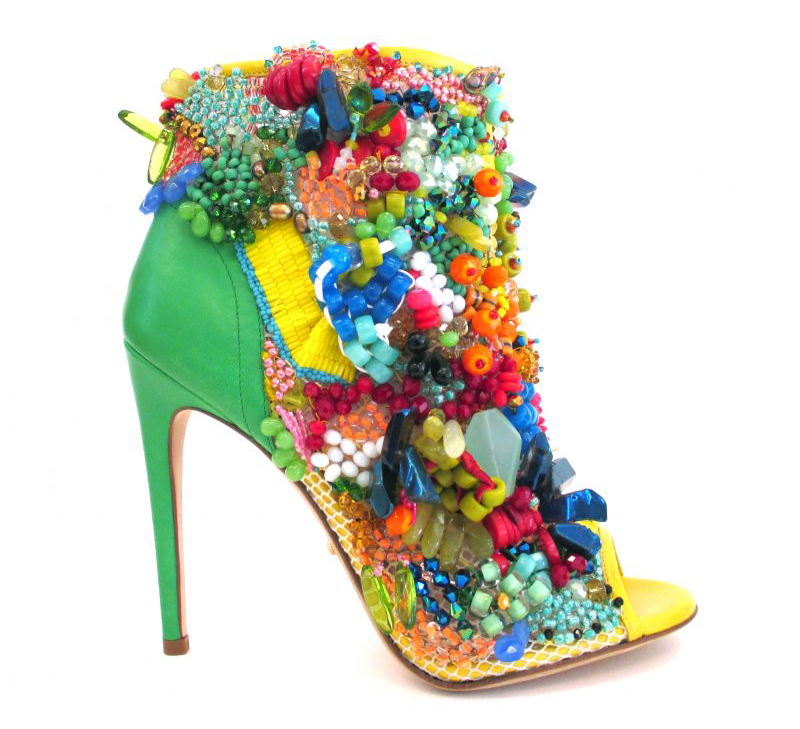 crystals rhinestones color green peep toe boot bootie ankle boot high end fashion style