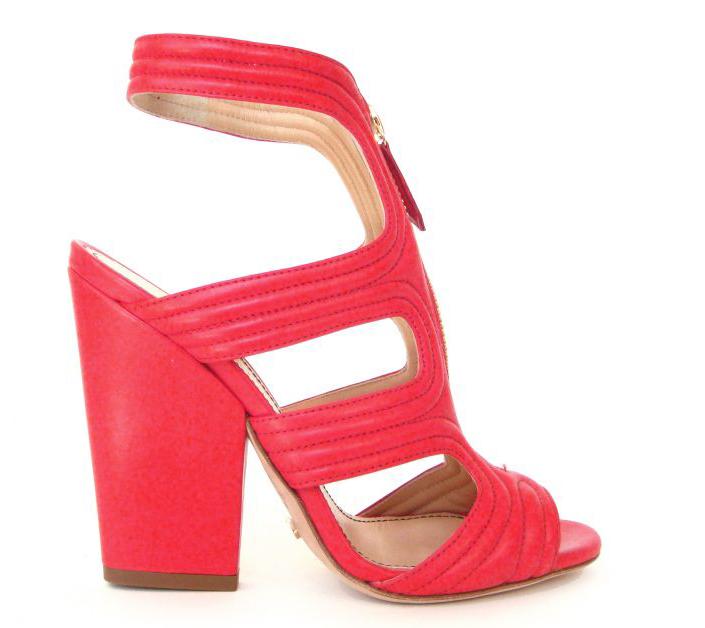 fuchsia sandal chunky heel zipper high end fashion style