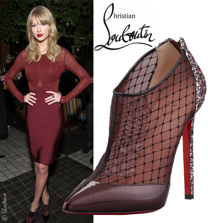 Celebrity Shoe Style: Taylor Swift in Mesh/Patent Christian ...