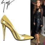 Celebrity Shoe Style – Nicole Scherzinger in Giuseppe Zanotti Gold Pumps