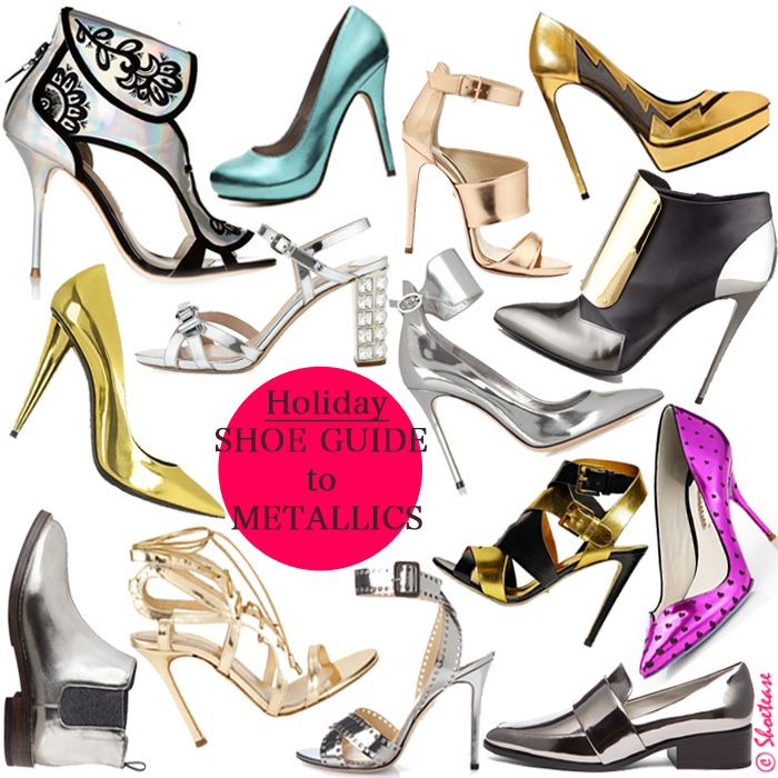christmas new year's metallic shoes pumps footwear trends party outfit