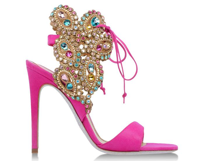 eb1debf94 I Want! Rene Caovilla Rhinestone Embellished Laced Pink Sandal Heels