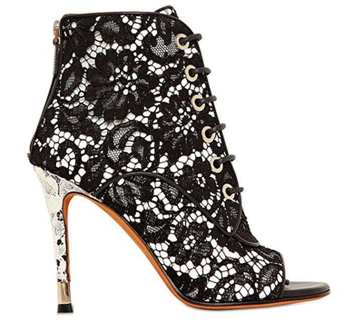 I Want! Givenchy Black & White Lace Open-Toe Booties