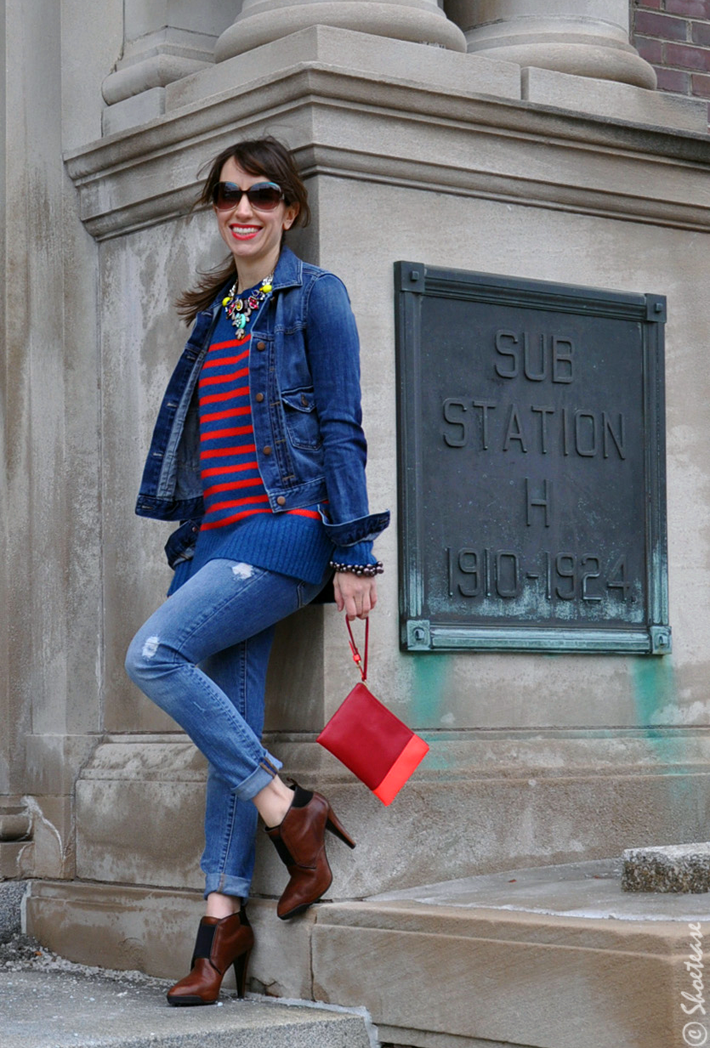 Toronto Street Style Double Denim Colourful Stripes Amp Rock Necklace