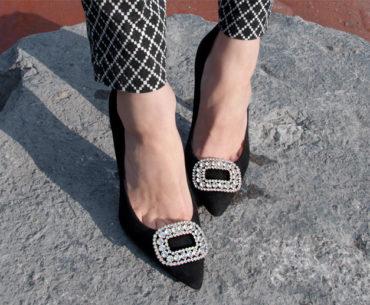Shoe Clips Pointy Toe Stilettos black white diamond pants