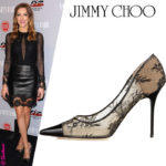 "Katie Cassidy in Lace, Leather & Jimmy Choo ""Amika"" Pumps"