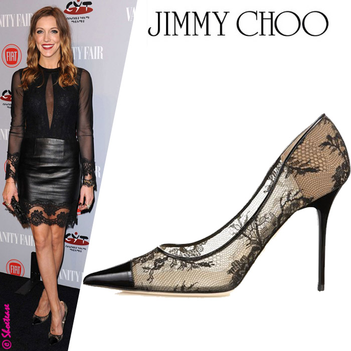Katie Cassidy in Jimmy Choo Amika Lace Leather Pumps