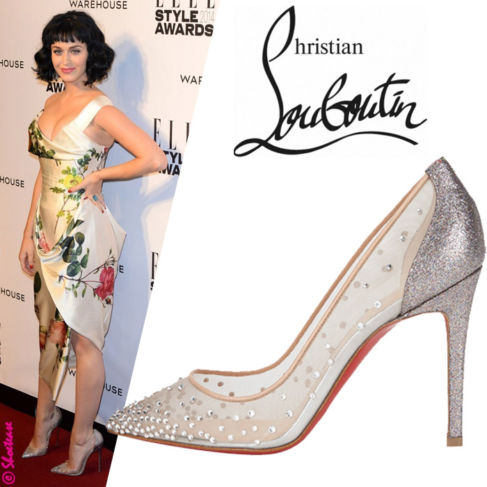 20a1ca9d64 Celebrity Shoe Style - Katy Perry in Christian Louboutin Body Strass  Jeweled Pumps