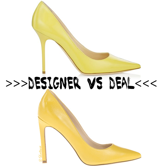 Real vs Steal - Citrus Colored Pointy Toe Pumps and Heels Comparison