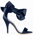 Ultra Chic Ann Taylor Navy Satin Sandals With Large Bow