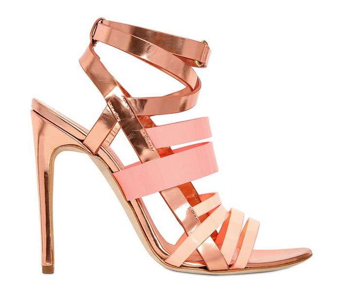 I Want! Rupert Sanderson Rose Gold & Pink Metallic Strappy Sandals