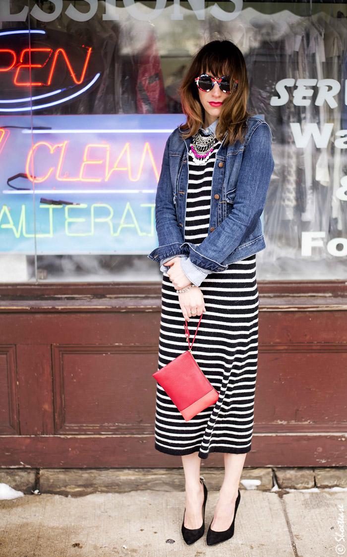 Toronto Street Style Black White Striped Dress Shoe