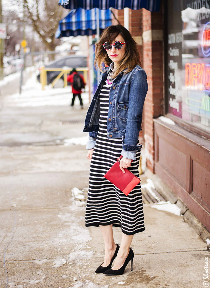 Black and white striped dress accessories