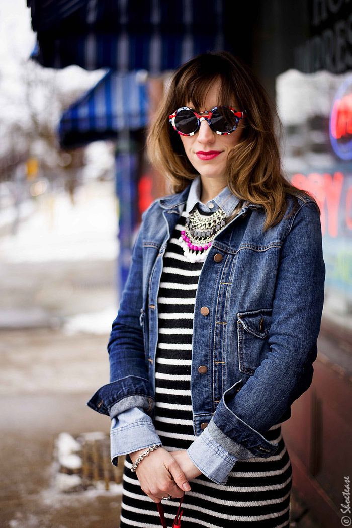 Toronto Street Style Fashion - Denim Jacket, Zara stripe dress, Peter Pilotto for Target Sunglasses, skull clips, Nine West black suede pumps Shoes