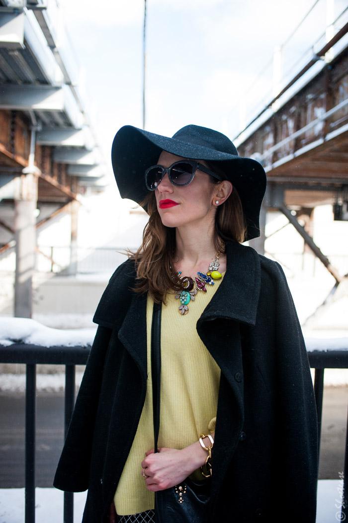 Toronto Street Style H M Floppy Hat Black Diamond Print
