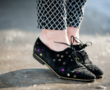 Toronto Street Style Fashion - Vintage Maud Frizon suede lace up brogues, Gap Diamond Print pants