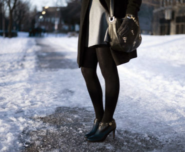 Toronto Street Style Fashion1 - Skater Dress, Juicy Couture Studded Bag, Coach Booties