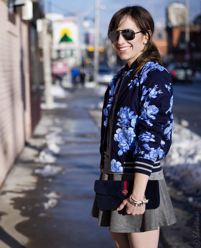 Toronto Street Style - Blue Floral Bomber Skater Skirt &amp Pink