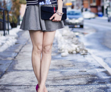 Toronto Street Style - Gap Floral Bomber, American Apparel Skater Dress, Pink Pumps & Gucci Clutch