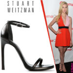 Nicola Peltz in Stuart Weitzman Nudist Black Sandals