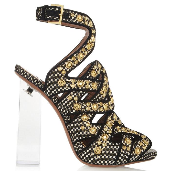 Alaia Plexiglas-heeled embellished raffia sandals