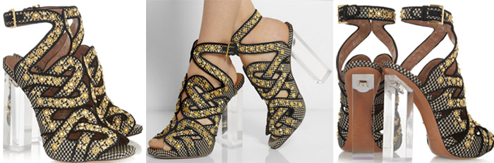 I Want! Alaia Plexiglas heeled studded embellished raffia sandals