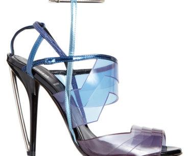 Fendi Iridia Blue PVC Ankle Strap Sandal Heels Spring 2014