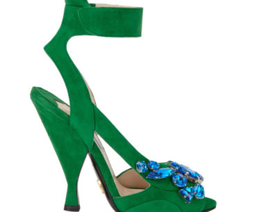 I Want Shoes! Green Suede Prada Blue Jewel Sandals Spring 2014