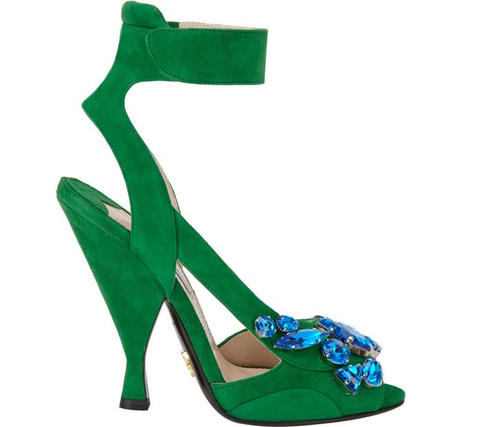 Cheers to Prada's Green Suede Jewelled Sandals!