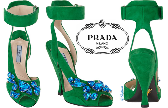 Green Suede Prada Blue Jewel Sandals Spring 2014