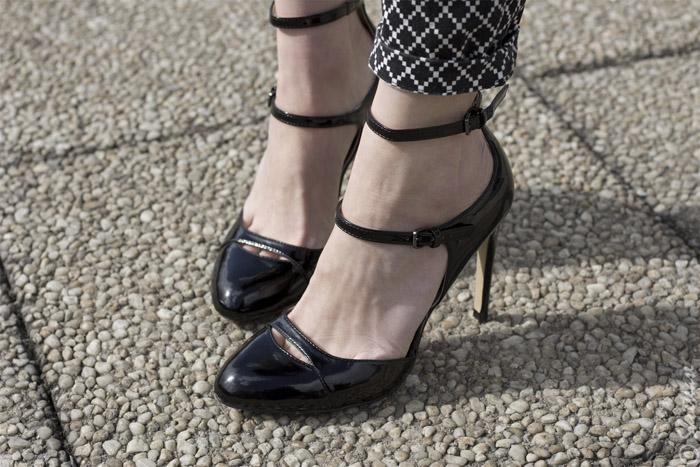 Toronto Street Style - Black Patent Zara Double Strap Mary Janes