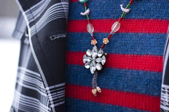 Toronto Street Style - Cashmere Stripes, Plaid Trench, Rock Pendant Necklace