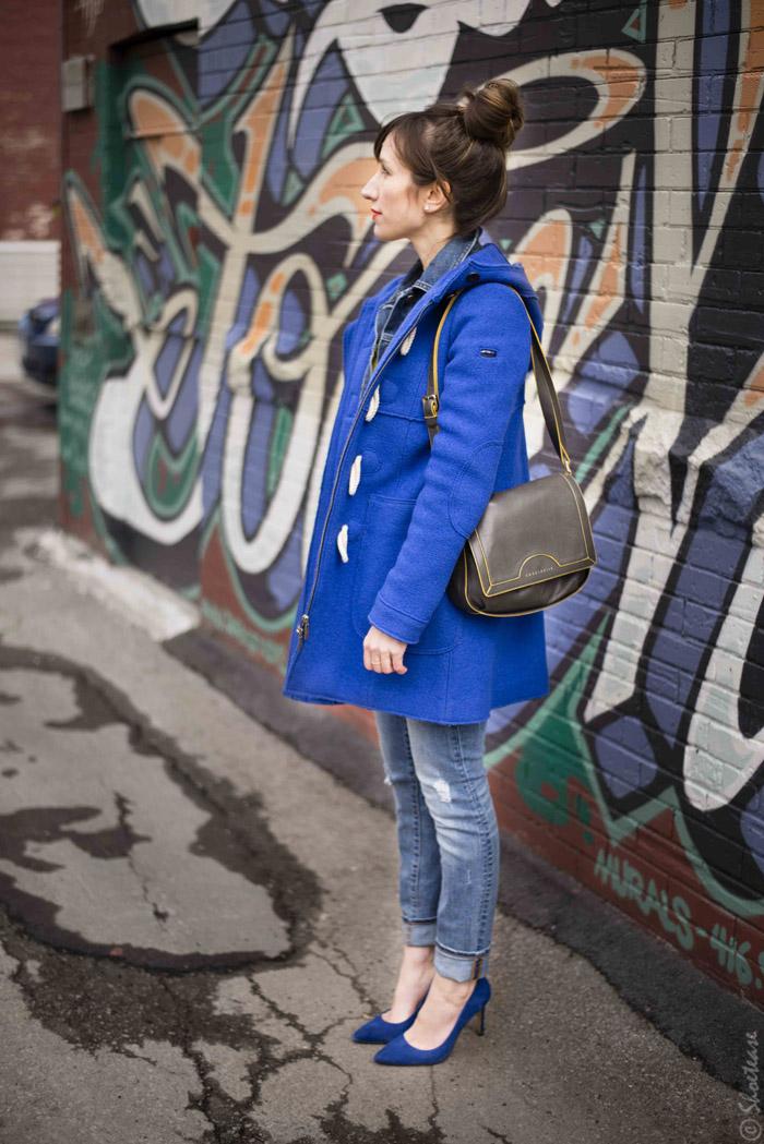 Toronto Street Style - Cobalt Coat, Suede Heels, Jeans and Denim
