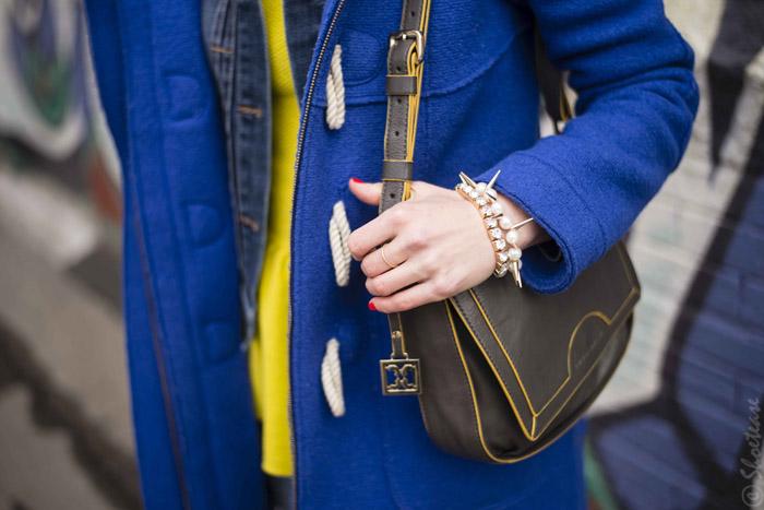 Toronto Street Style - Grey Bag Yellow Piping Aldo Spike Pearl Bracelets