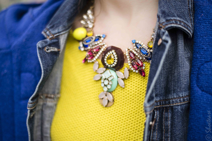 Toronto Street Style - J.Crew Statemetn Necklace Denim Blue and Yellow
