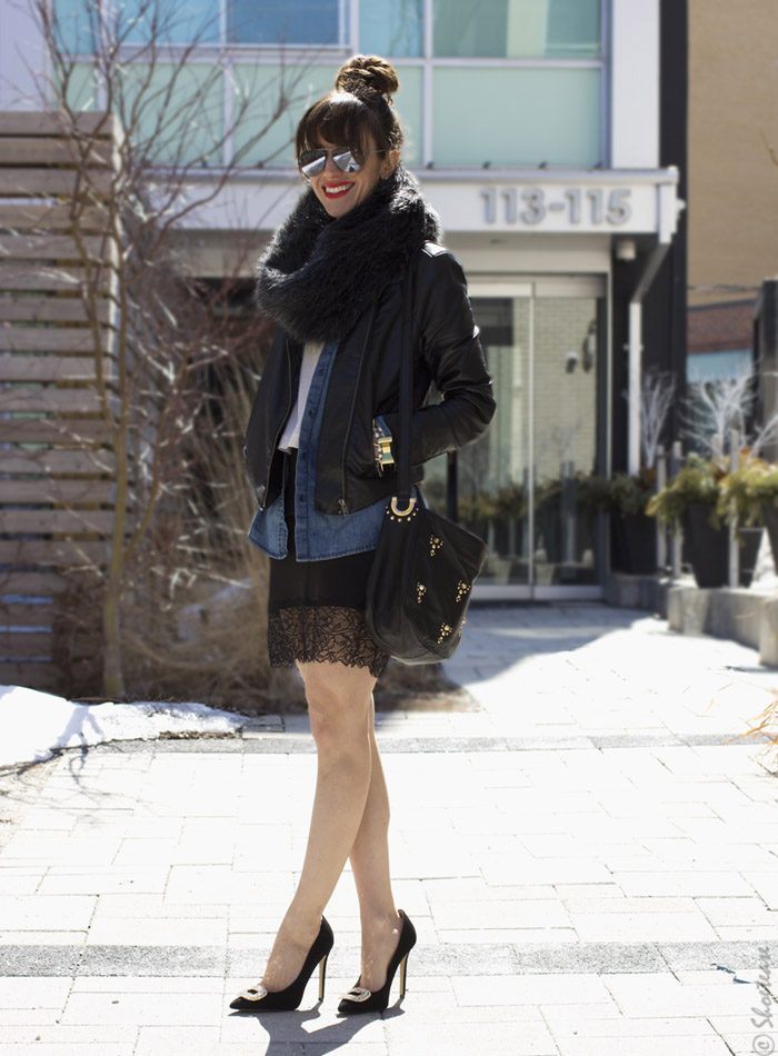 Toronto Street Style - Lace Leather Chambray & Black Pumps
