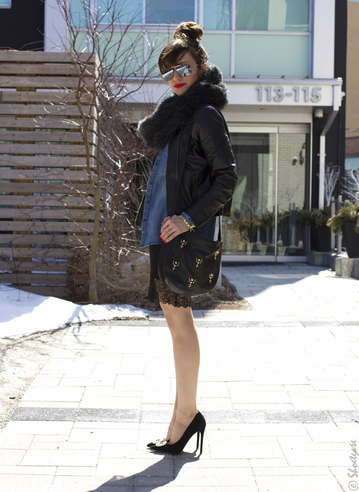 Toronto Street Style - Leather Lace, Black Buckle Heels & Chambray