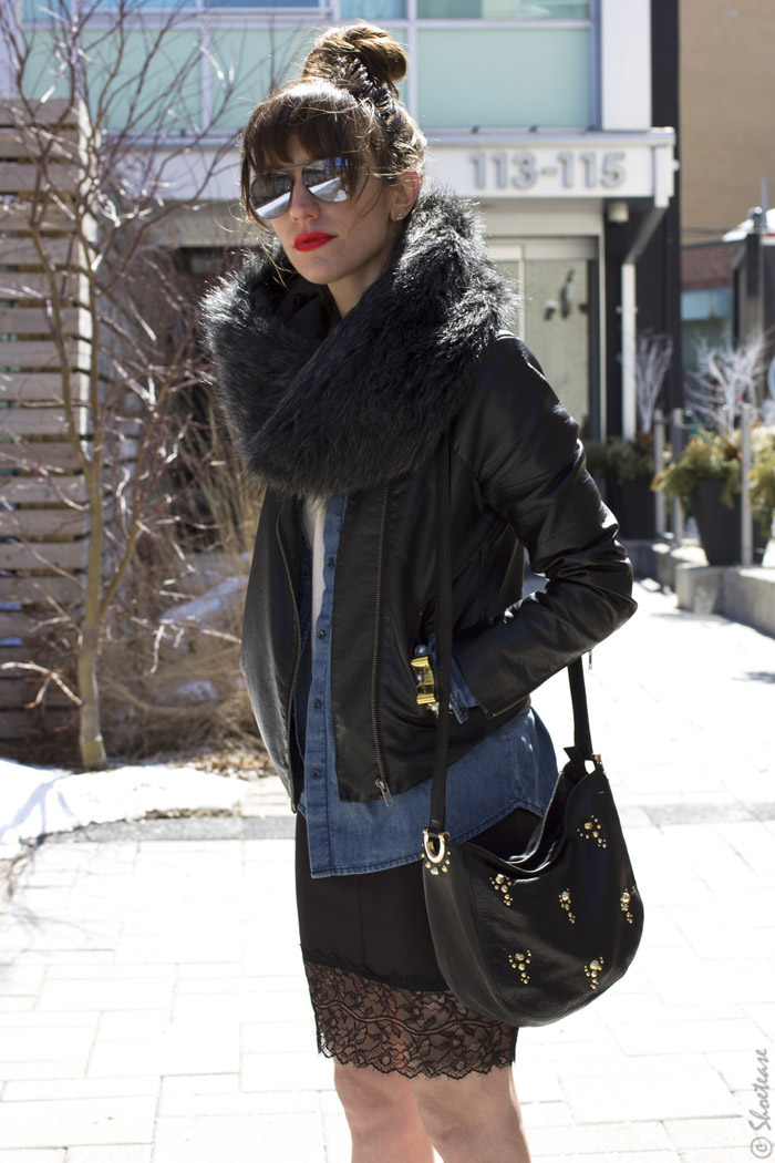 Toronto Street Style - Leather Lace Chambray & Black Pumps