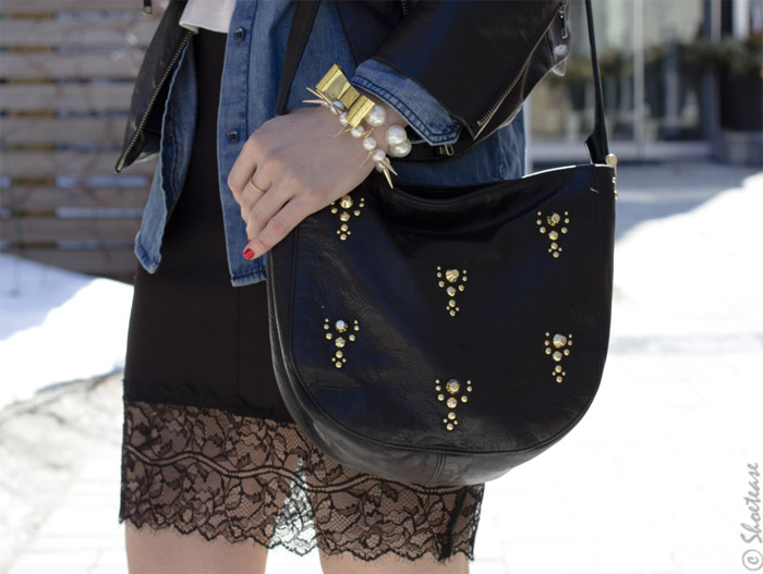 Toronto Street Style - Leather Lace Chambray & Pearls
