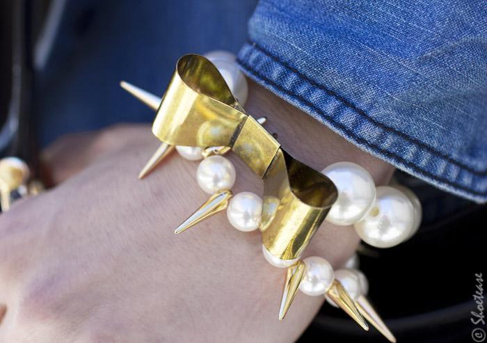 Toronto Street Style - Pearls Spike Metal Bow Bracelet