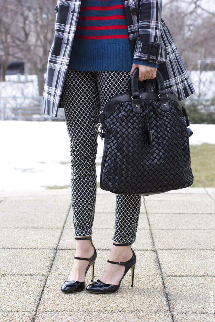 Toronto Street Style - Plaid Trench, Printed Pants, Cashmere Stripes
