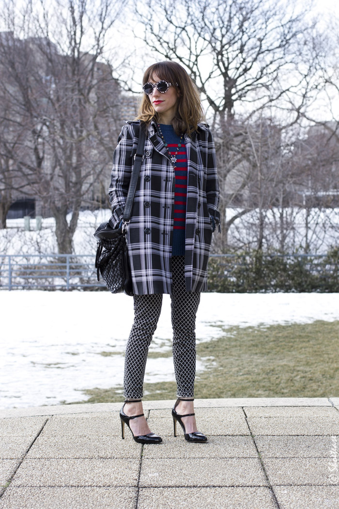 Toronto Street Style - Plaid Trench, Stripes, Prints & Peter Pilotto for Target Sunglasses, Patent Pumps